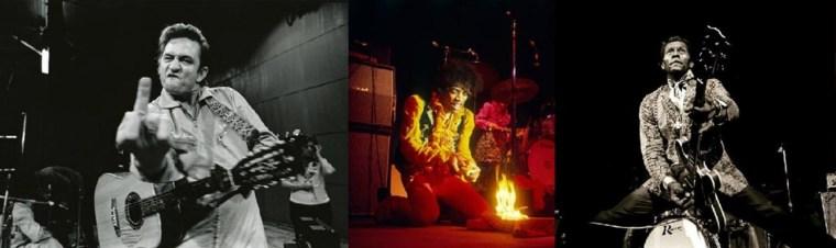 Johnny Cash, Jimmy Hendrix et Chuck Berry par Jim Marshall!